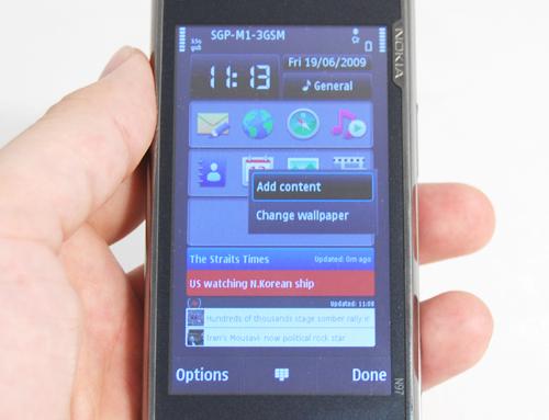 L'home screen ospita diversi Widget, che possono essere acquistati attraverso lo store Nokia